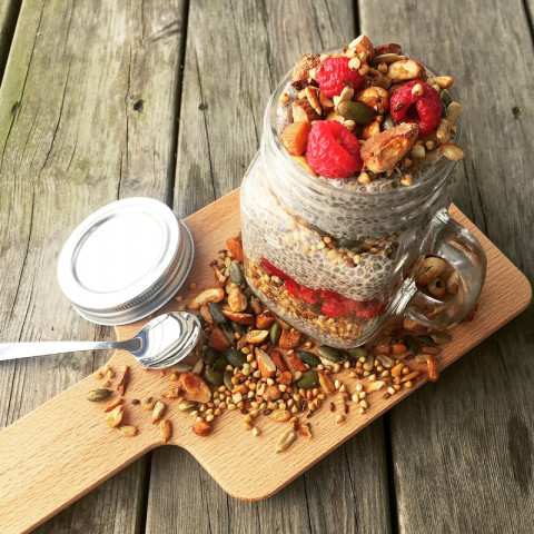 Chia pudding au granola