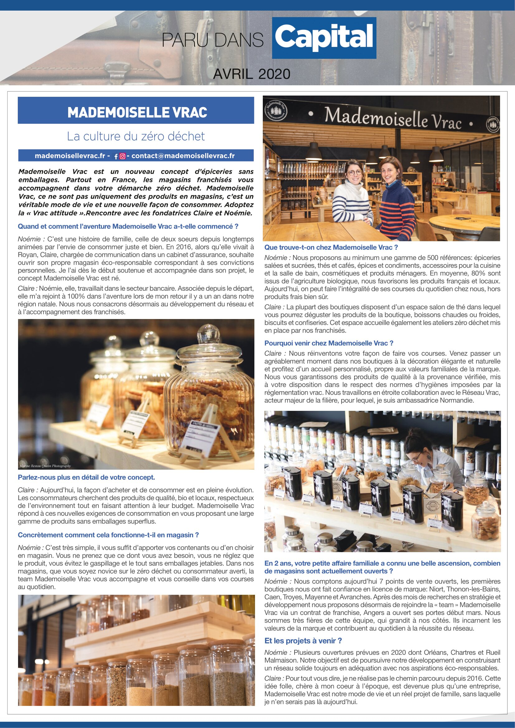Article dans le magazine Capital Avril 2020