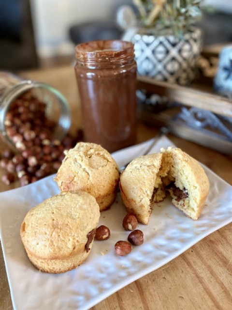 Muffin cœur en pâte à tartiner